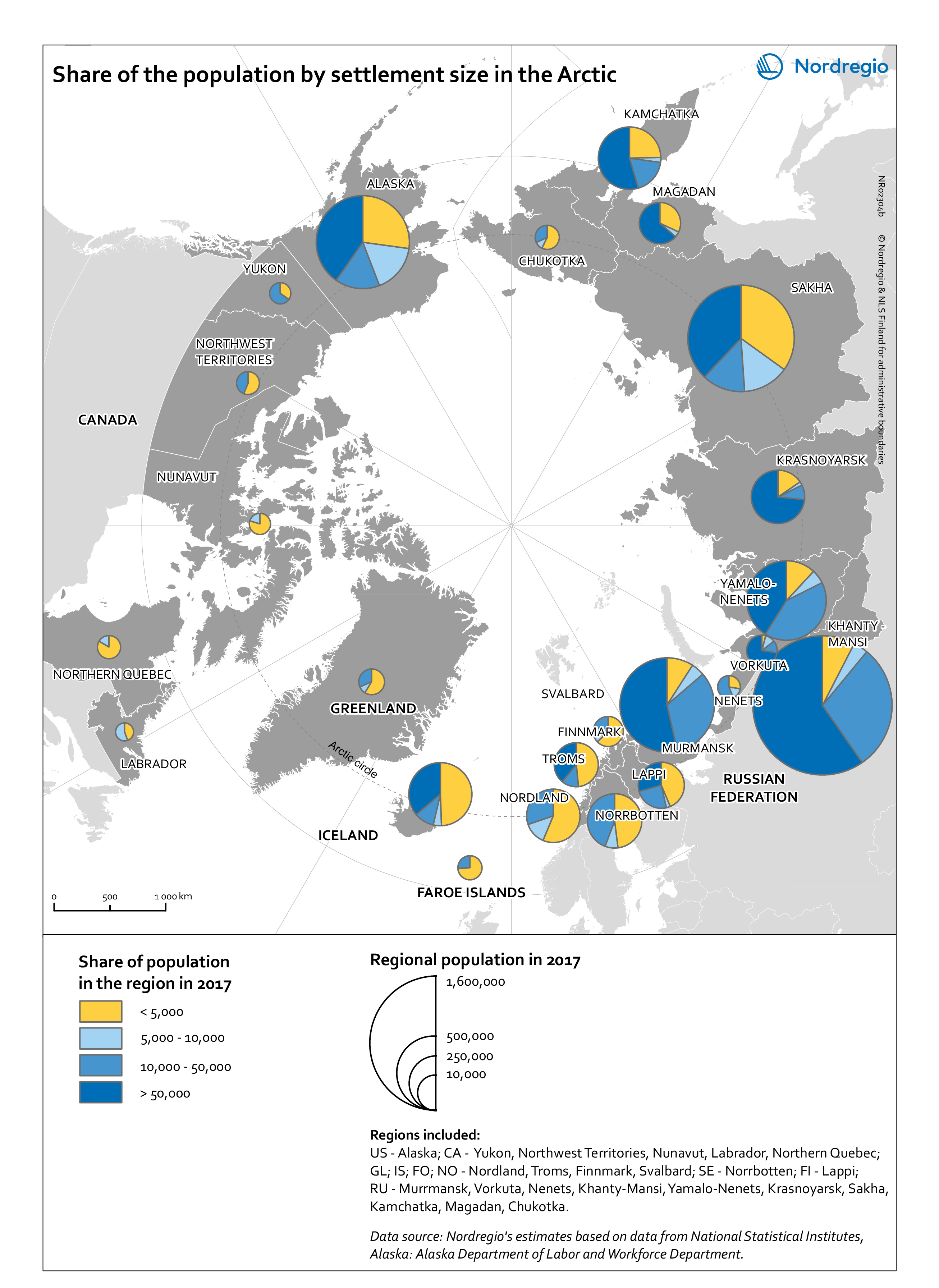 Small Map Of Canada.Share Of The Population By Settlement Size In The Arctic Nordregio