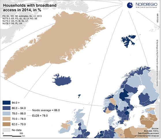 Households with broadband access in 2014 | Nordregio