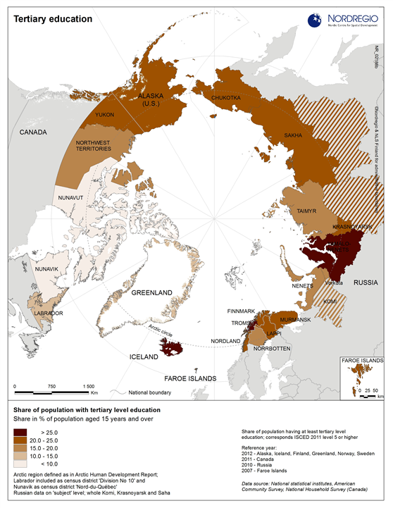 Map Of Canada Greenland And Iceland.Tertiary Education In The Arctic Regions Nordregio