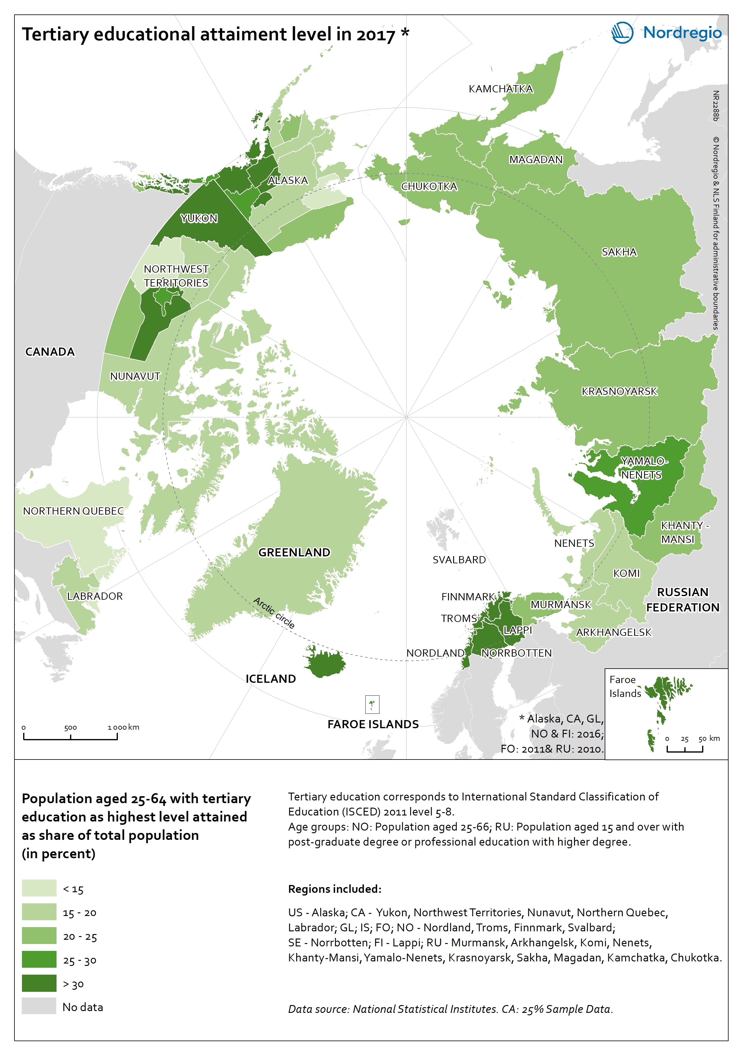 Map Of Northern Quebec Canada.Tertiary Educational Attainment Level In The Arctic Nordregio